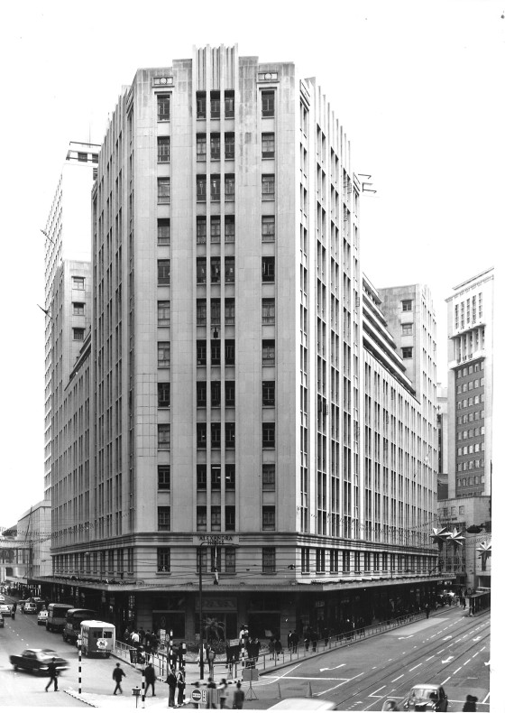 This 2nd generation of Alexandra House was completed in 1956. The Royal Building behind it was demolished and new extension was built. Prince's Building is seen at the back and The Chartered Bank Bldg on the right.
